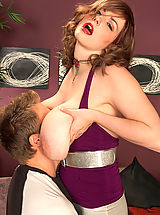 Busty Brunette, Miss Marks Gets Down