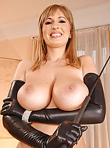 Busty Babes, Beautiful busty Edo in & out of tight latex outfit