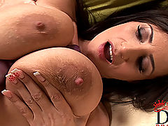 Huge.Tits Vids: Busty brunette Sensual Jane masturbating with toy & cumming