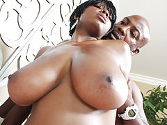 Busty Ebony, Chicks tits flap as she gets it doggy!