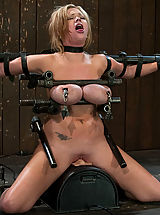 Busty Teen, Big titted bitch bound on a sybian and made to cum over and over, metal breast bondage!