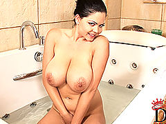 Fat Busty Movies, Young busty babe Shione Cooper soloing in bathroom