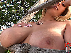 Busty Girls, Busty blonde babe Sapphire posing her shaved pussy outdoors