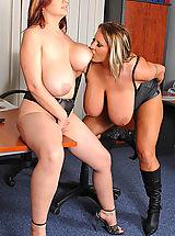 Busty Grannies, Busty lesbian office babes toying