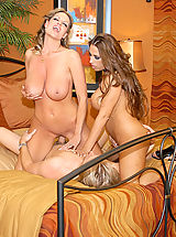 Group Sex, Kelly Madison and Alisandra get titty fucked and they take turns sharing cock till they are covered in cum.