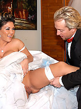 Busty Teen, Claire Dames gets pile drived on her wedding day and a load squirt on her that she licks up.