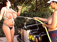 Big Tits Videos, Kelley Scarlett & Leanne Crow washing car naked