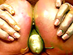 Busty Babes, Kelly's paint gets all over her boobs so she slides her male model's cock between them.