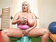 Busty Babes, Busty superstar Laura M. having sexy masturbation fun in the gym