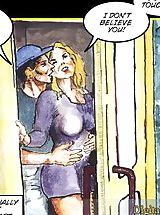 Comics Pics: This blonde chick seems to always catch herself in the most sexual of situations. While talking to her boyfriend on the phone in a phone booth, a rude man approached her and demanded that she got off the phone. Not standing for his rudeness, she replied b