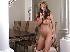 Kelly Madison, Kelly was all dressed up with nowhere to go. She decided that she would much rather be here with you. Her titties were about to burst out of the sheer portion of her long sexy dress so she decided that it was time for an appetizer. Out came the all...