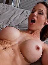 Bouncing Boobs, Hot brunette MILF loves to swallow cock and take a good fucking.