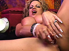 nice hooters, Psychic Kelly is having an orgasm and sucking her pussy juice off her dildo.