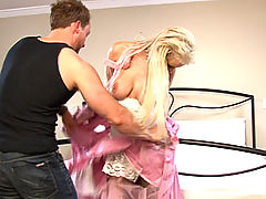 A exotic beautiful blonde foreigner gets kidnapped and fucked after being bound and humiliated by being written on with lipstick.