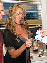 Busty Teen, Kelly Madison and her husband drop by next door and fuck Jayden James in the kitchen.