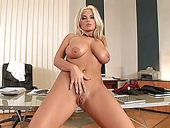 Busty blonde secretary babe Ines Cudna strips nude for you