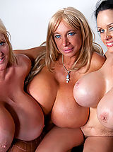 Busty Latina, Echo Valley, Kayla Kleevage and Sofia Staks smother Charles with their colossal boobies!