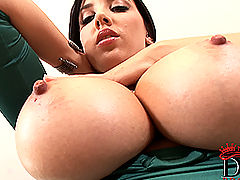 Huge.Tits Vids: Sexy busty babe Jelena Jensen plays with her natural tits