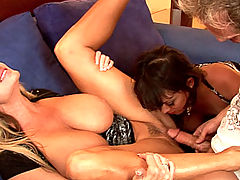 Bouncing Boobs, Kelly and Sienna grab onto a big cock and shove it in each others pussies like it was their own dick.