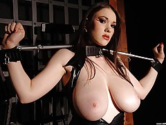 Teen Tits Videos, Busty babe Anna Song tied up, in and out of tight latex