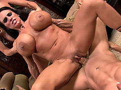 Kelly Madison and Lisa Lipps stumble in from a drunken night and get those massive tits fucked!