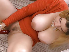Bigtit Videos, Beautiful Slut Danielle Double Penetration Fun reveals her naked tits, draws down her underwear and opens her limbs and hand fucks her snug crotch