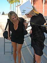 Bouncing Boobs, Kelly Madison and Ryan took care of Aurora Snow on her graduation day, they fucked her choked her and gave her a mouthful of jiz.