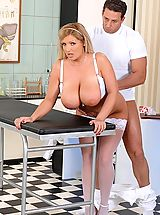 Huge.Tits Pics: Blonde nurse Chintia Flowers pussy & titty-fucked by Nick