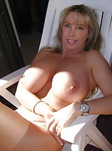 Busty Housewives, Big Breasted Slut Wifey enjoys the sunshine