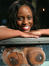 Fetish Pics: Sexy black girl is bound and fucked by a machine